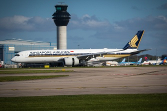 Airbus A350-900 of Singapore Airlines at Manchester Airport